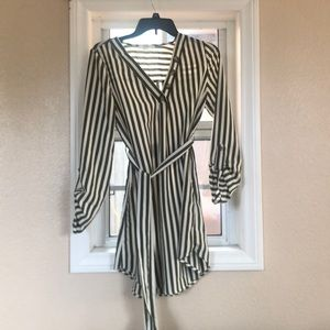 Striped long sleeve t shirt dress